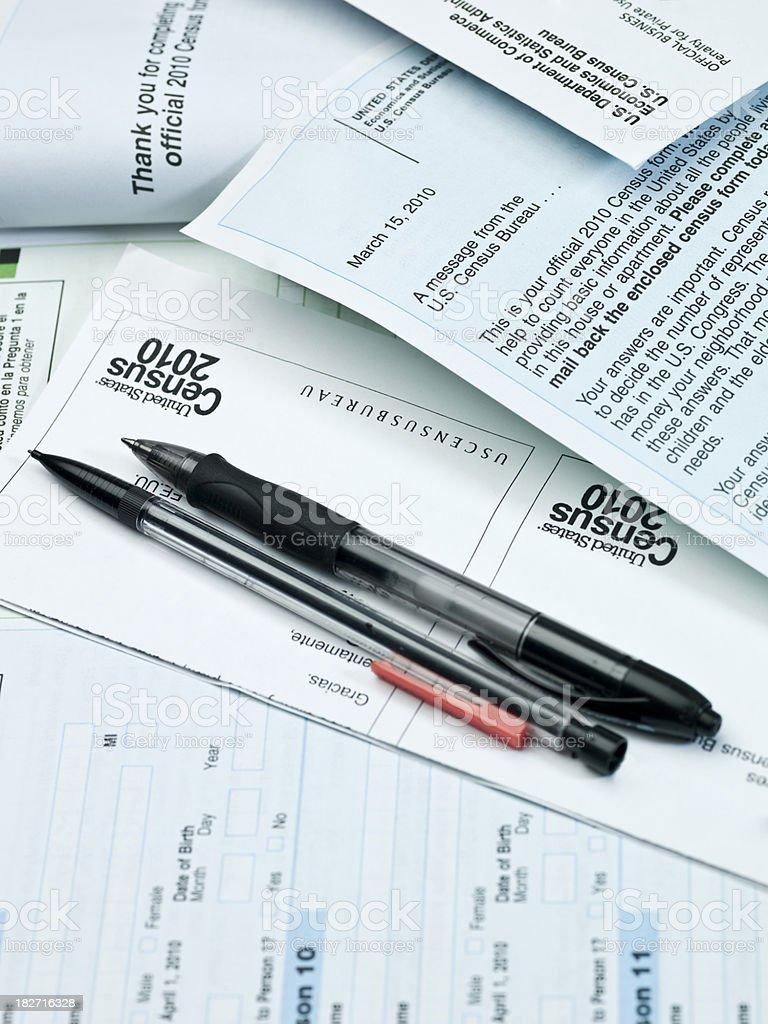 US 2010 Census Paperwork royalty-free stock photo