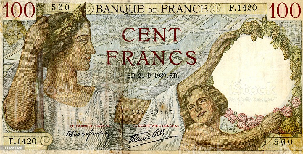 Cent Francs (old French paper money) royalty-free stock photo