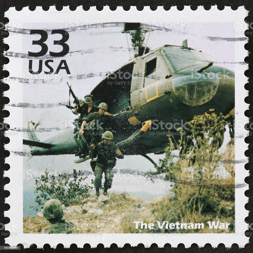 USA 33 cent postal stamp image of Vietnam War stock photo