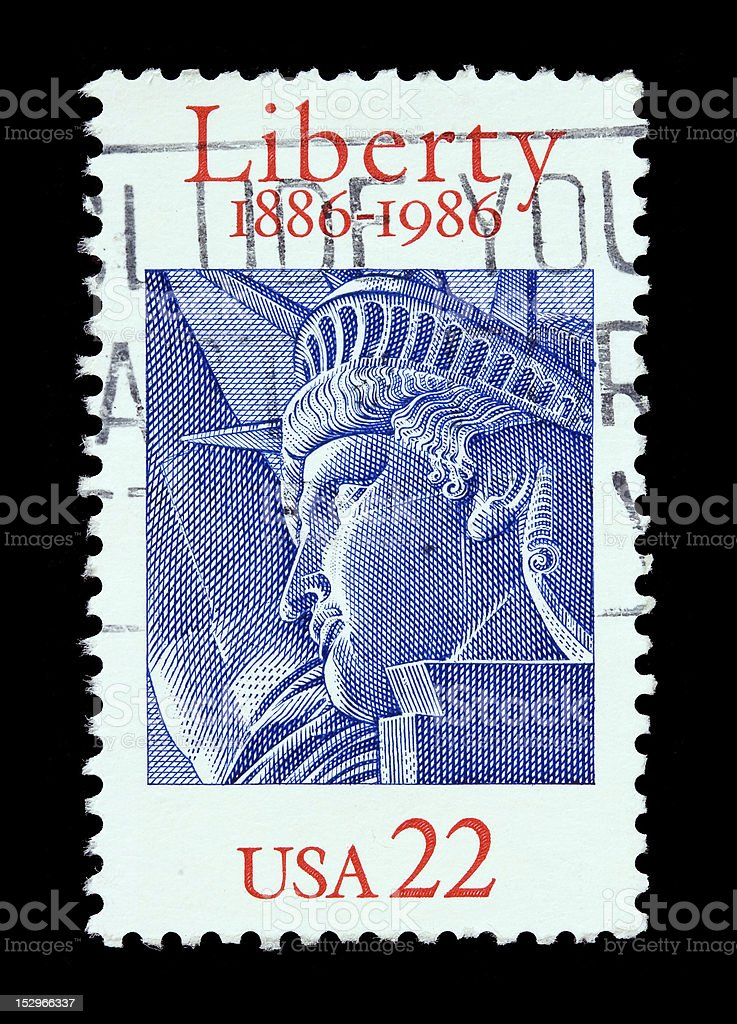 USA 22 cent postal stamp with the Statue of Liberty stock photo