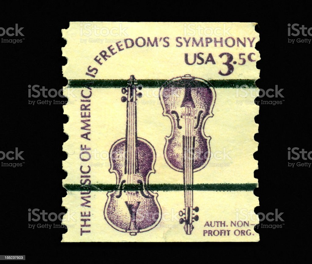 3.5 cent Weaver Violins Stamp royalty-free stock photo