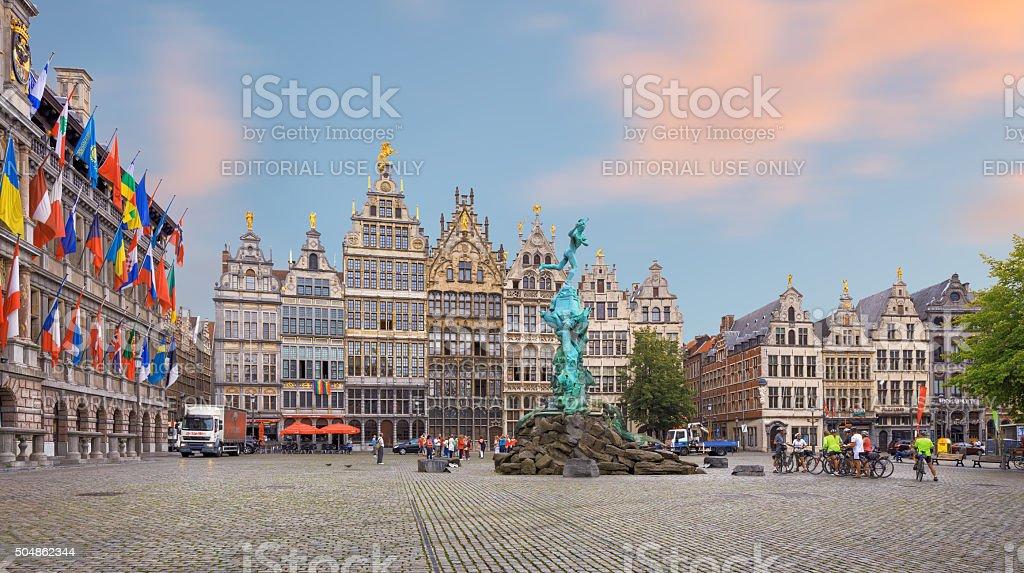 Cental square of Antwerp. City Hall stock photo