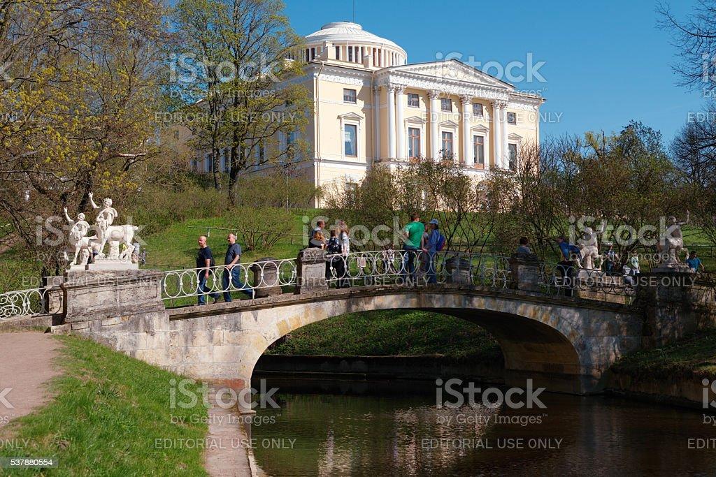 Centaur bridge in Pavlovsk, St. Petersburg, Russia stock photo