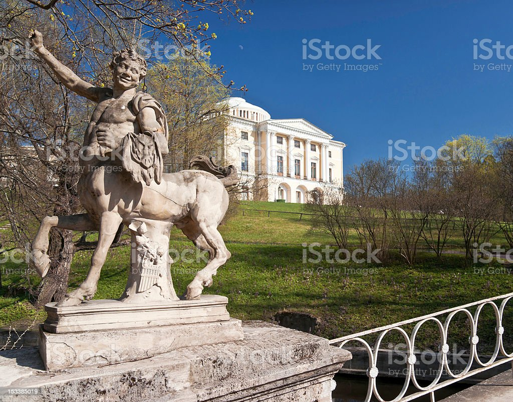 Centaurus sculpture in spring park stock photo