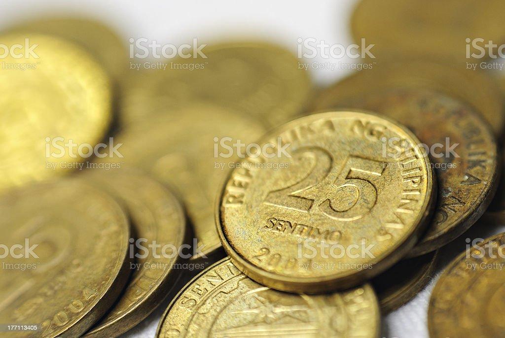 25 Centavo Philippine Coins royalty-free stock photo