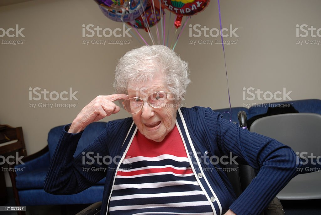 Centenarian Woman With an Attitude stock photo