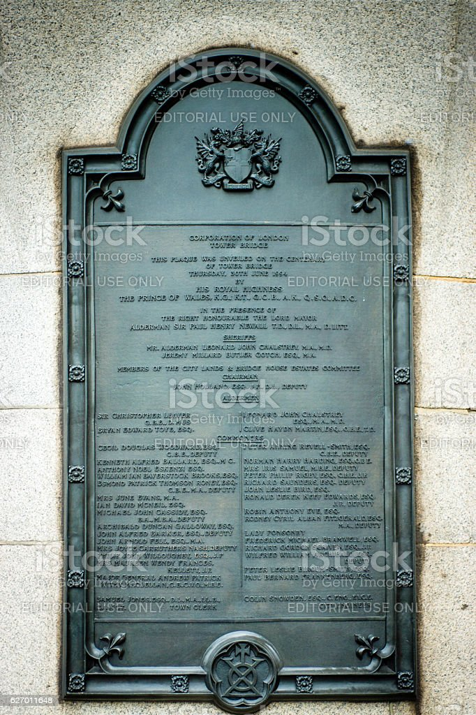 Centenary plaque on Tower Bridge stock photo