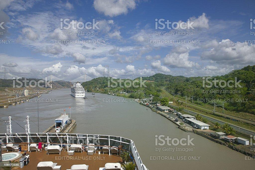 Centennial Bridge And Cruise Ship, Panama Canal stock photo