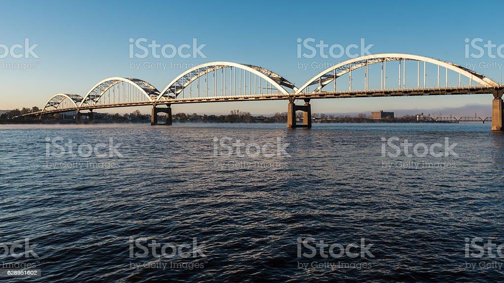 Centennial Bridge Crosses the Mississippi River stock photo