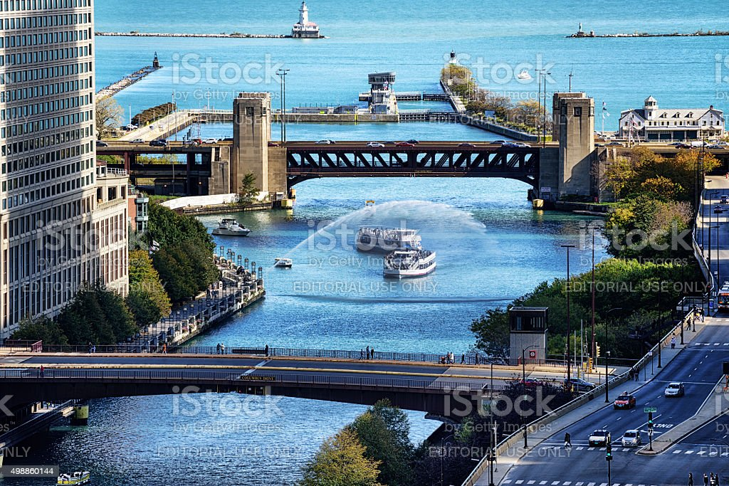 Centennial Fountain and bridges across the Chicago River stock photo