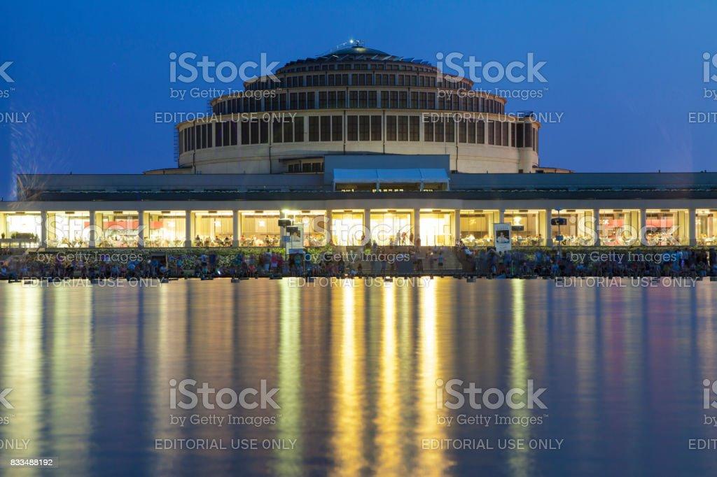 Centennial Hall at Night stock photo