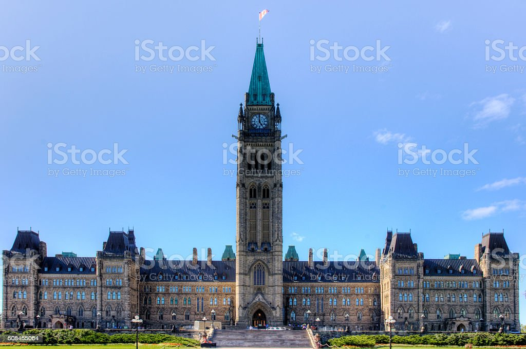 Center block of the Parliament Buildings, Ottawa, Canada stock photo