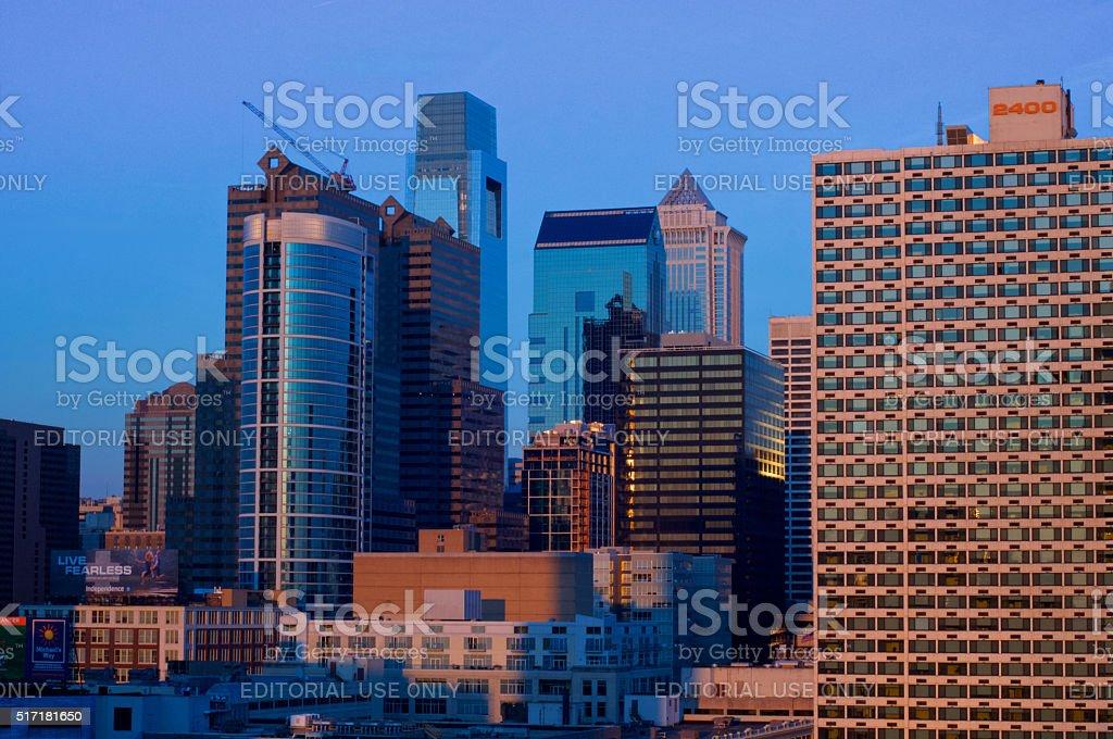 Center City Philadelphia Skyline Sunset stock photo