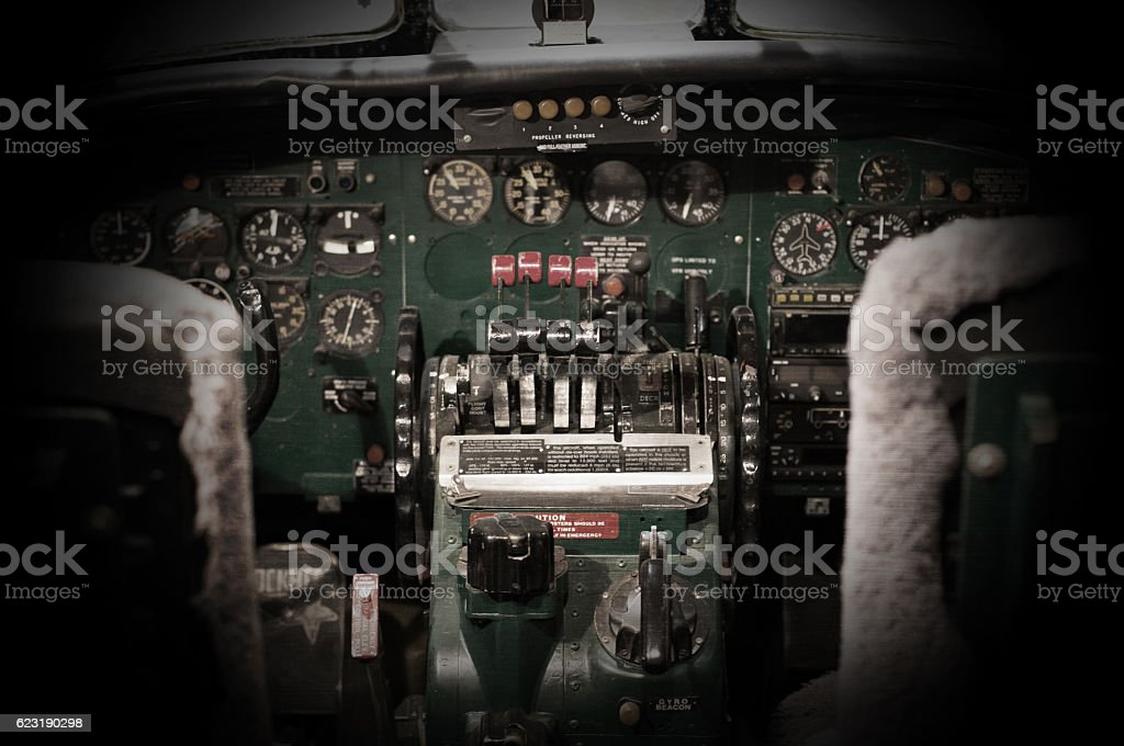 Center console and throttles in airplane stock photo