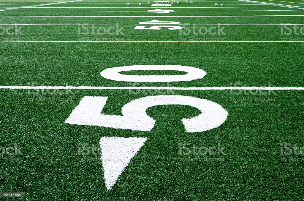 Center field artificial turf  football stock photo