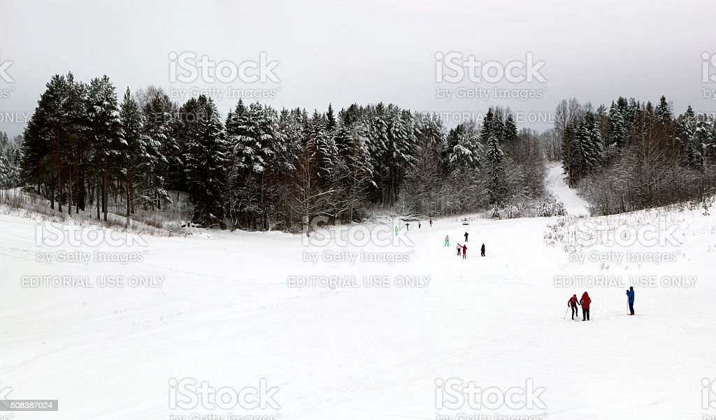 Center for training skiers and of biathlonists in Smetanino stock photo