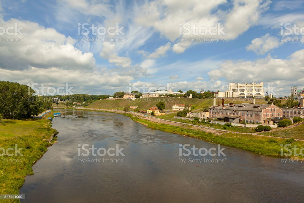 Center Grodno and Neman River. Belarus stock photo