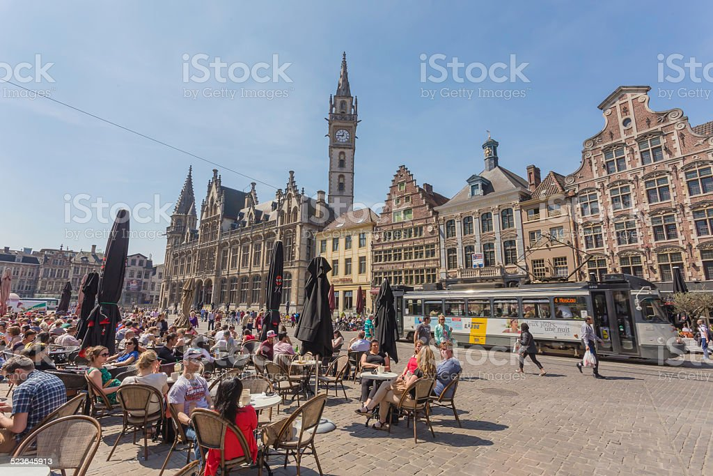 Center Market of Ghent, Belgium stock photo