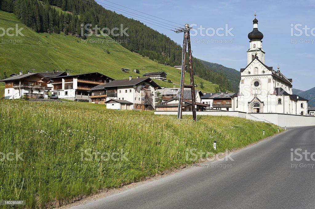 Center of an Austrian Village with Church stock photo