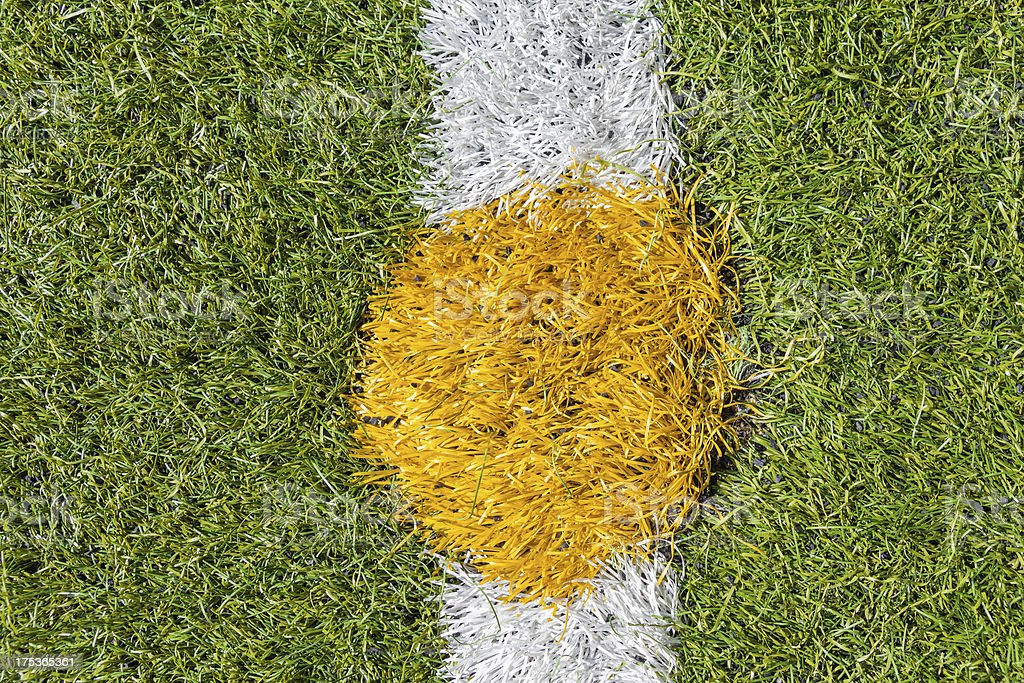 Center of artificial grass soccer pitch royalty-free stock photo