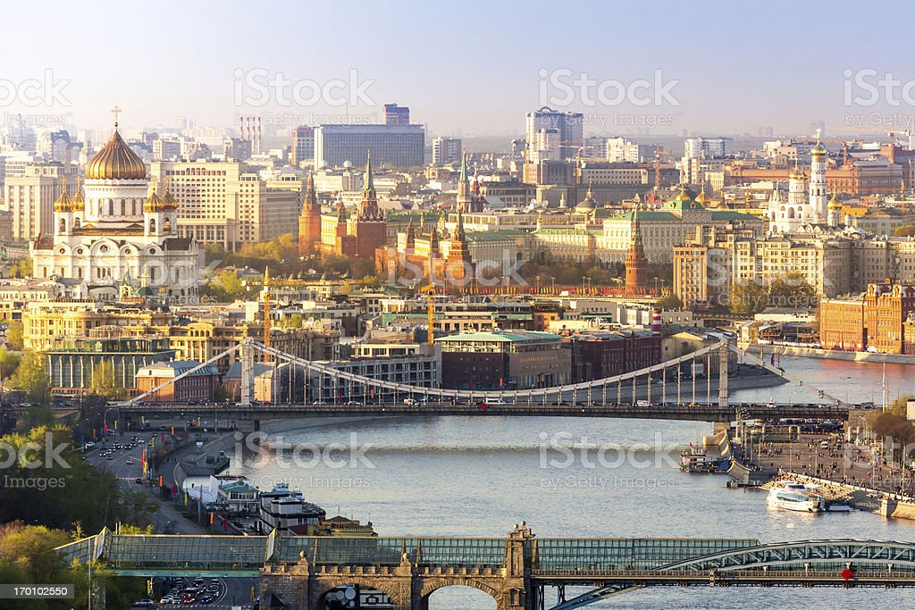 Center of Moscow in sunny day stock photo