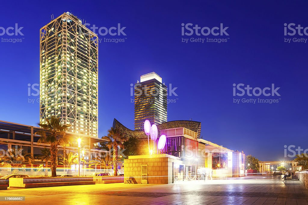 center of nightlife at Barcelona stock photo