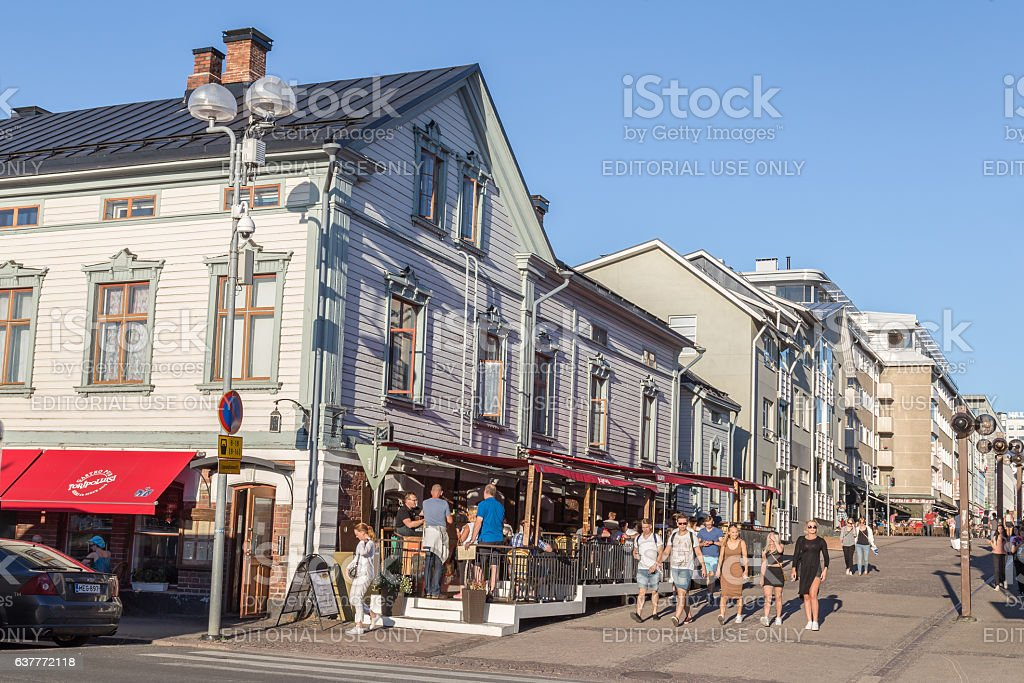 Center of Oulu in FInland stock photo