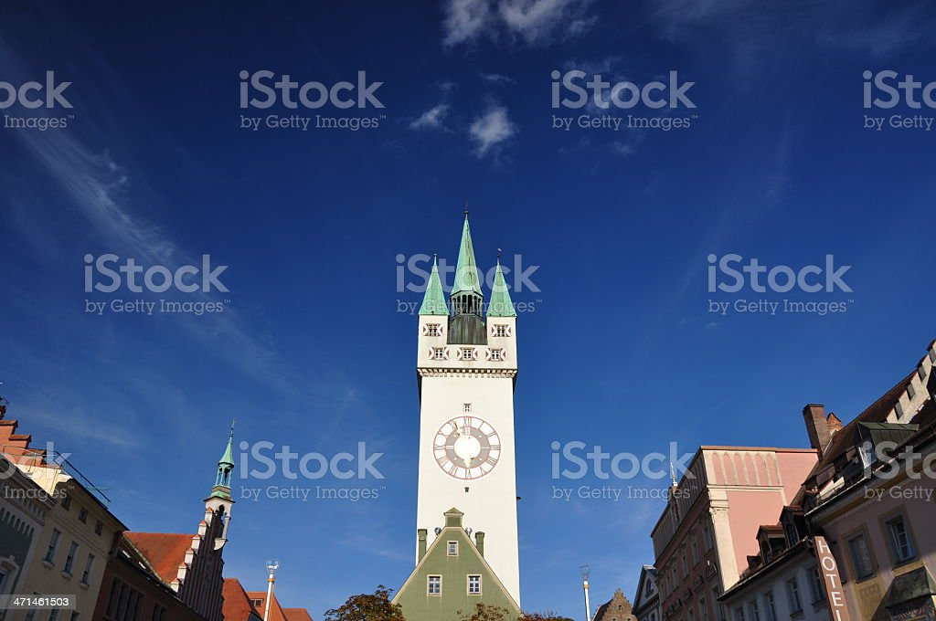 Center of Straubing with old City Tower - Bavaria, Germany stock photo
