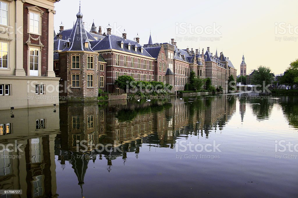 center of the Hague with swans royalty-free stock photo