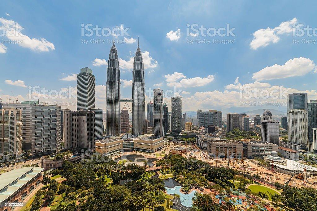 Center of the Kuala Lumpur city at noon stock photo