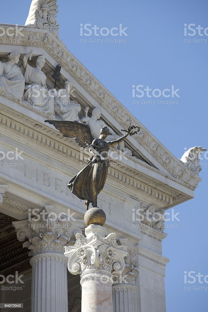 center piece of the court, winged statue  stock photo