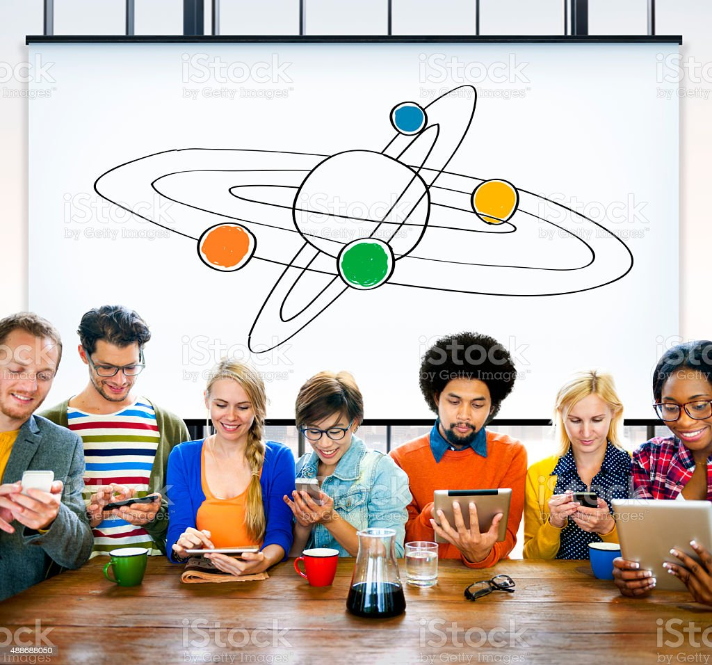 Center Saturn Universe Leadership Responsibility Concept stock photo