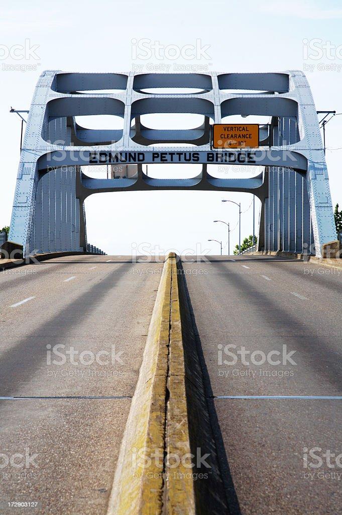 Center street view of Alabama Edmund Pettus Bridge stock photo