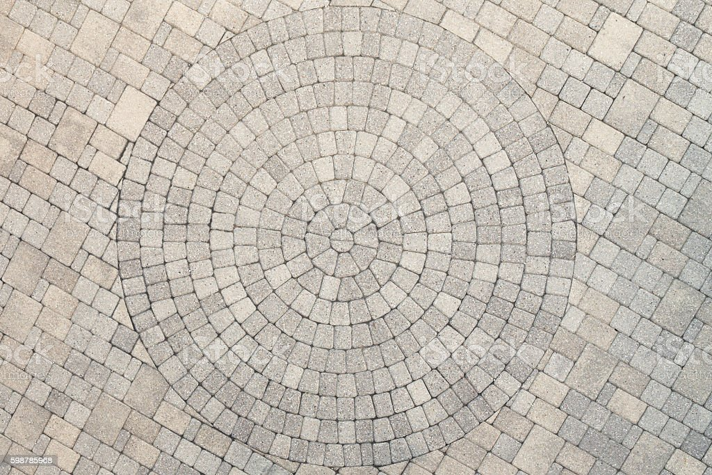 Center View of Patio Circle Design Overhead View stock photo