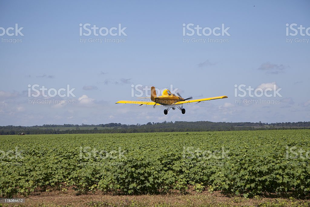 Centered Crop Dusting Plane royalty-free stock photo