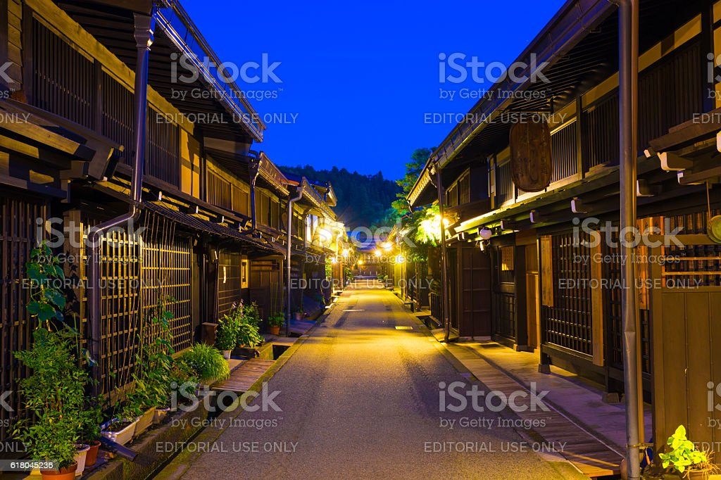 Centered Wooden Houses Hida-Takayama Old Town stock photo