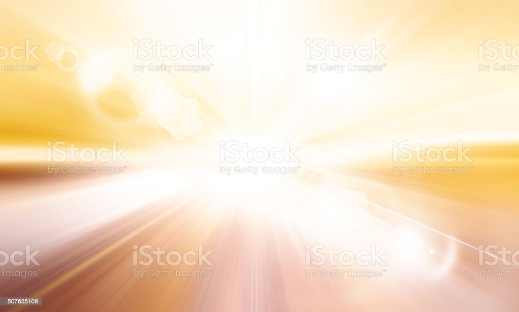 Centered yellow orange summer sun light burst. stock photo