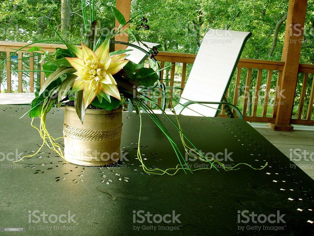 Centerpiece on outdooor patio stock photo
