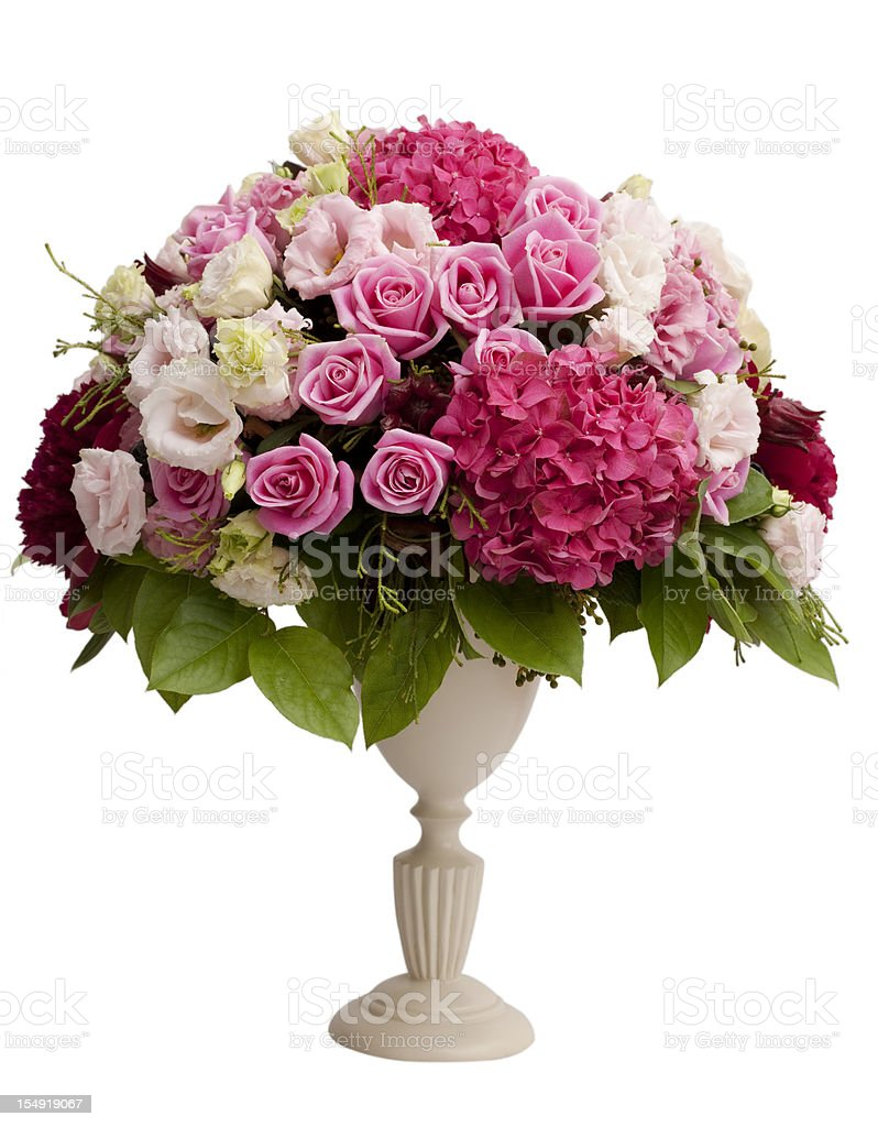 Centerpiece with flowers and vase stock photo