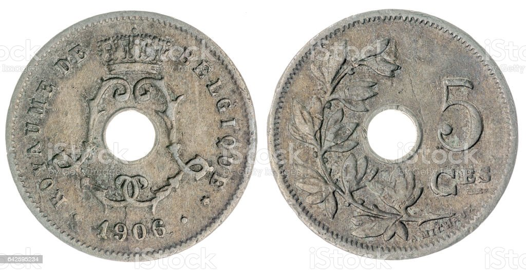 5 centimes 1906 coin isolated on white background, Belgium stock photo