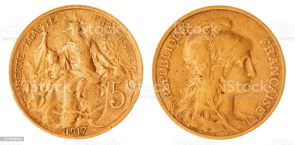 5 centimes 1917 coin isolated on white background, France stock photo