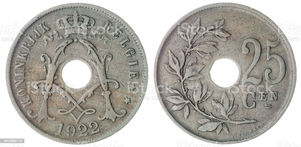 25 centimes 1922 coin isolated on white background, Belgium stock photo