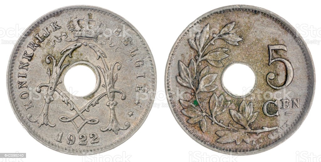 5 centimes 1922 coin isolated on white background, Belgium stock photo