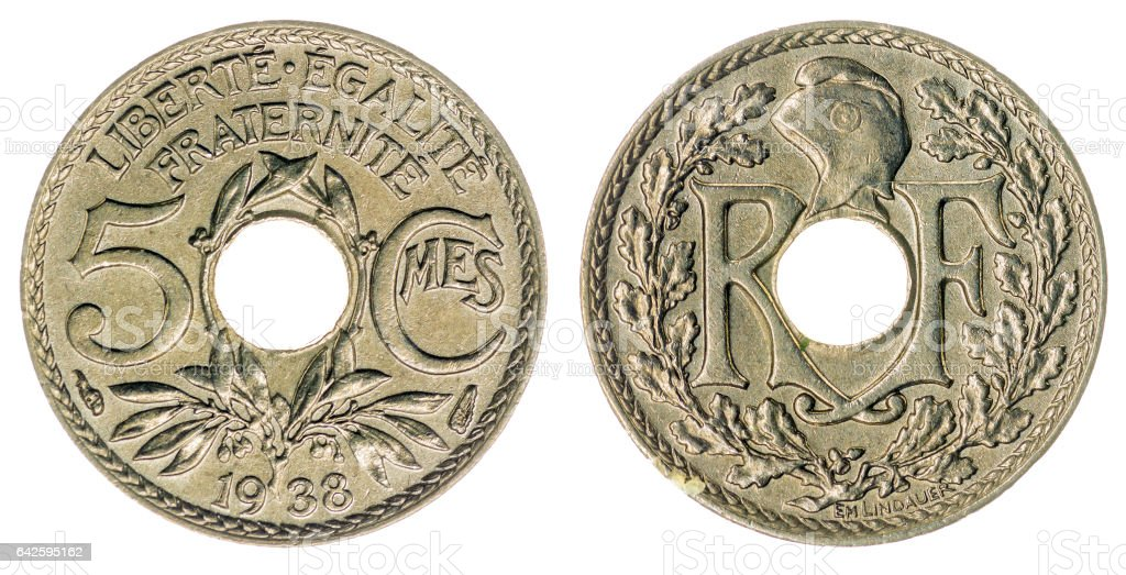 5 centimes 1938 coin isolated on white background, France stock photo