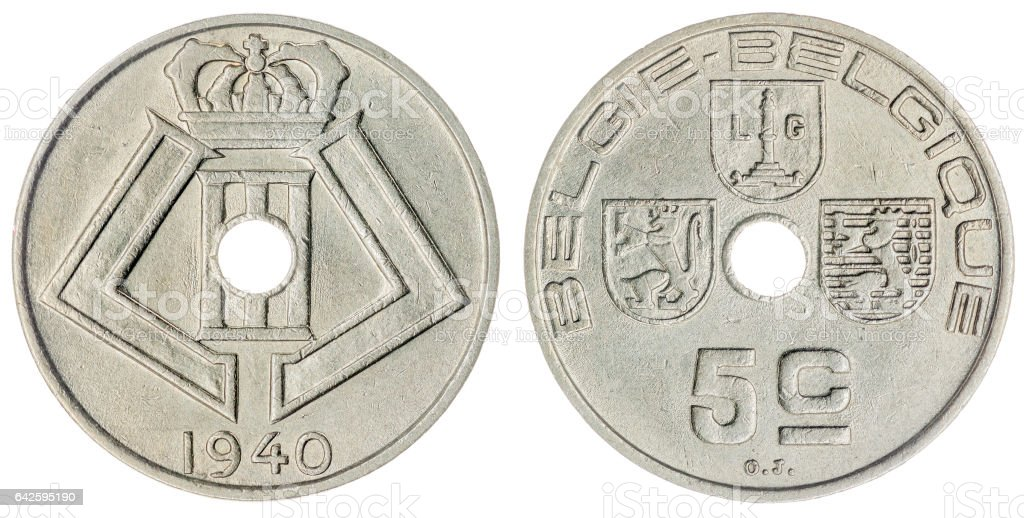 5 centimes 1940 coin isolated on white background, Belgium stock photo