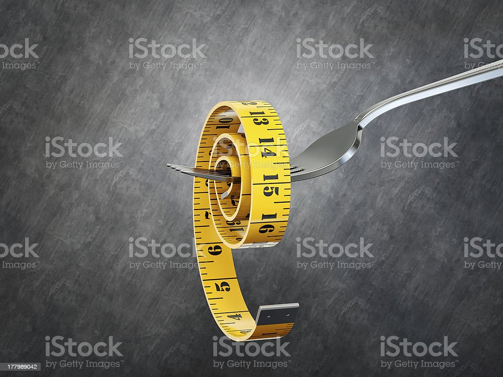 centimeter on a fork royalty-free stock photo