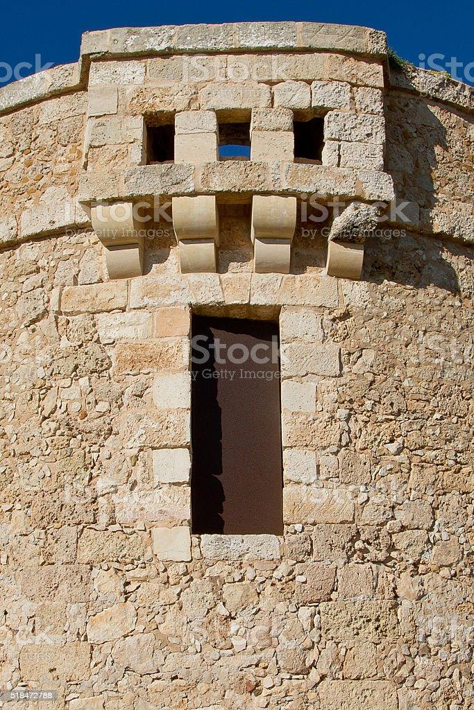 Centinel tower of La Mola fortress stock photo