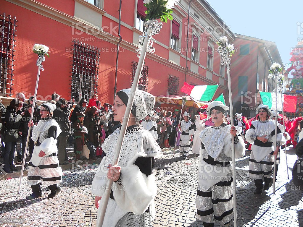Cento girls in white costume stock photo