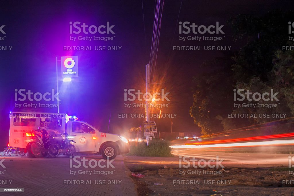 Central 911 Mobile Vehicle standing-by in the street stock photo