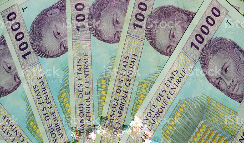 Central African CFA Francs bank notes stock photo